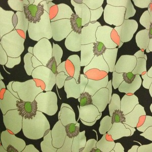 Vintage green poppy print dress