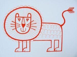 Jane foster Lion screenprint